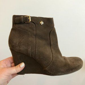 Tory Burch Suede Ankle Wedge Booties